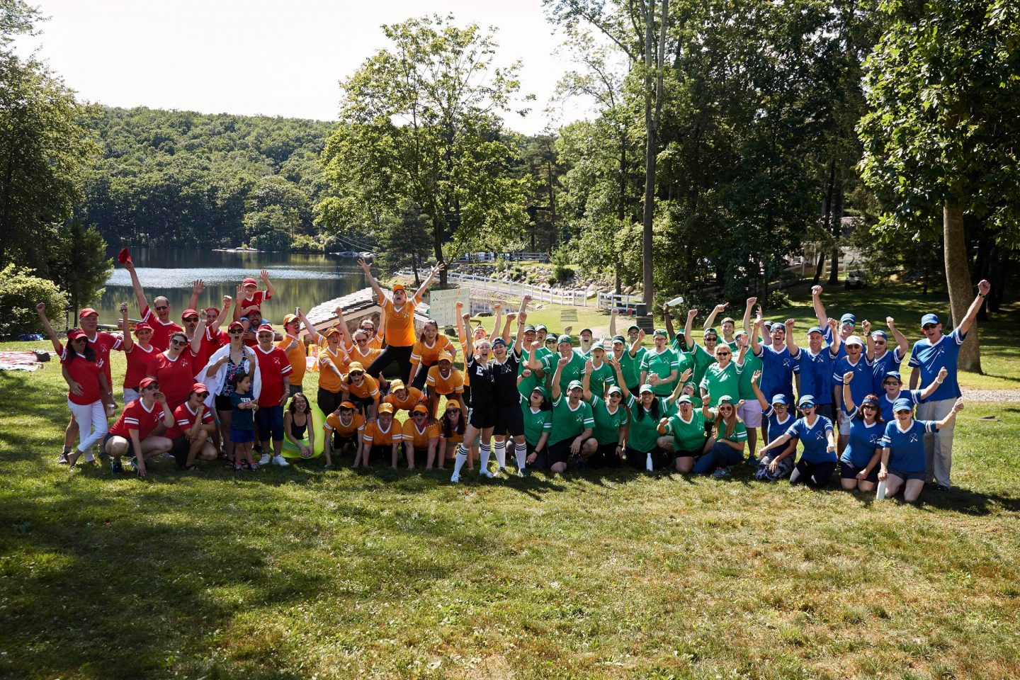All the teams at field day at this camp-themed wedding weekend at Cedar Lakes Estate in Upstate NY, USA | Photo by Christian Oth Studios