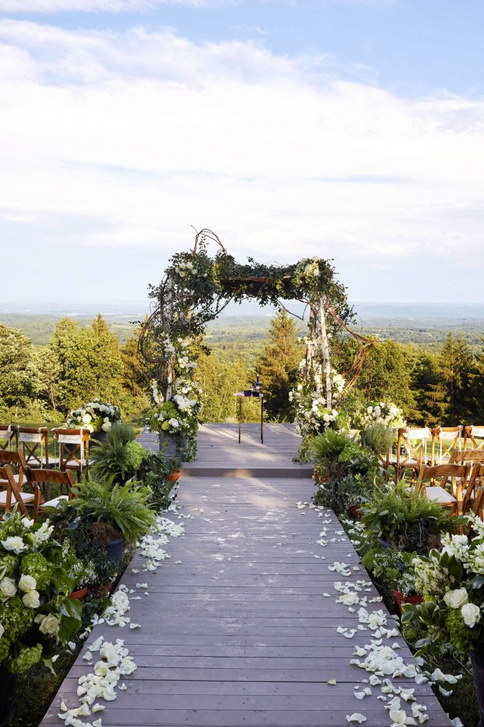 Outdoor ceremony at this camp-themed wedding weekend at Cedar Lakes Estate in Upstate NY, USA | Photo by Christian Oth Studios