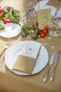 Table setting at wedding lunch at this Dubrovnik Wedding in Croatia   Photo by Robert Fairer