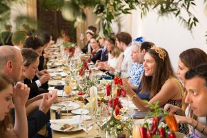 Guests during wedding lunch at this Dubrovnik Wedding in Croatia | Photo by Robert Fairer