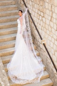 Bride and wedding dress at this Dubrovnik Wedding in Croatia | Photo by Robert Fairer