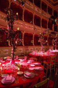 Table and floral decor at Barchannal shabbat dinner party at this Dubrovnik Wedding in Croatia   Photo by Robert Fairer