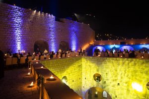 Evening dinner party at Fort Lovrijenac at this Dubrovnik wedding in Croatia | Photo by Robert Fairer