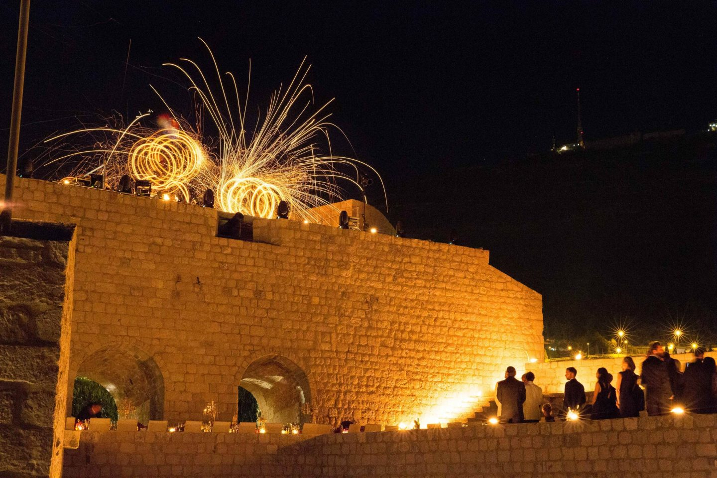Fireworks during evening dinner at Fort Lovrijenac at this Dubrovnik wedding in Croatia | Photo by Robert Fairer