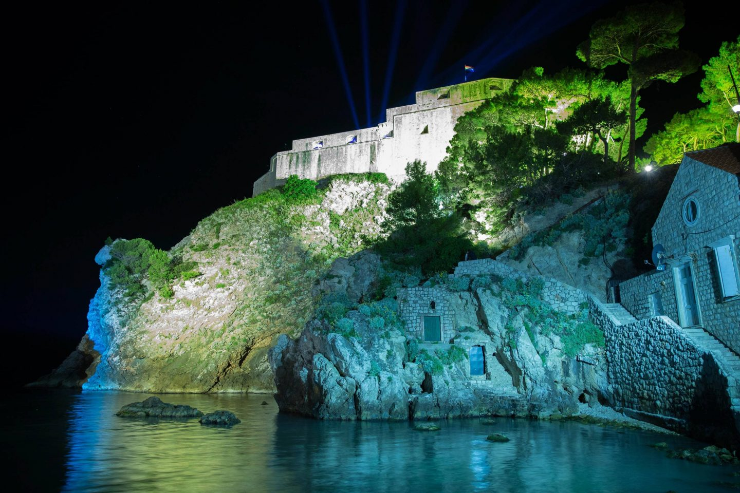 Fort Lovrijenac at night at this Dubrovnik wedding in Croatia | Photo by Robert Fairer