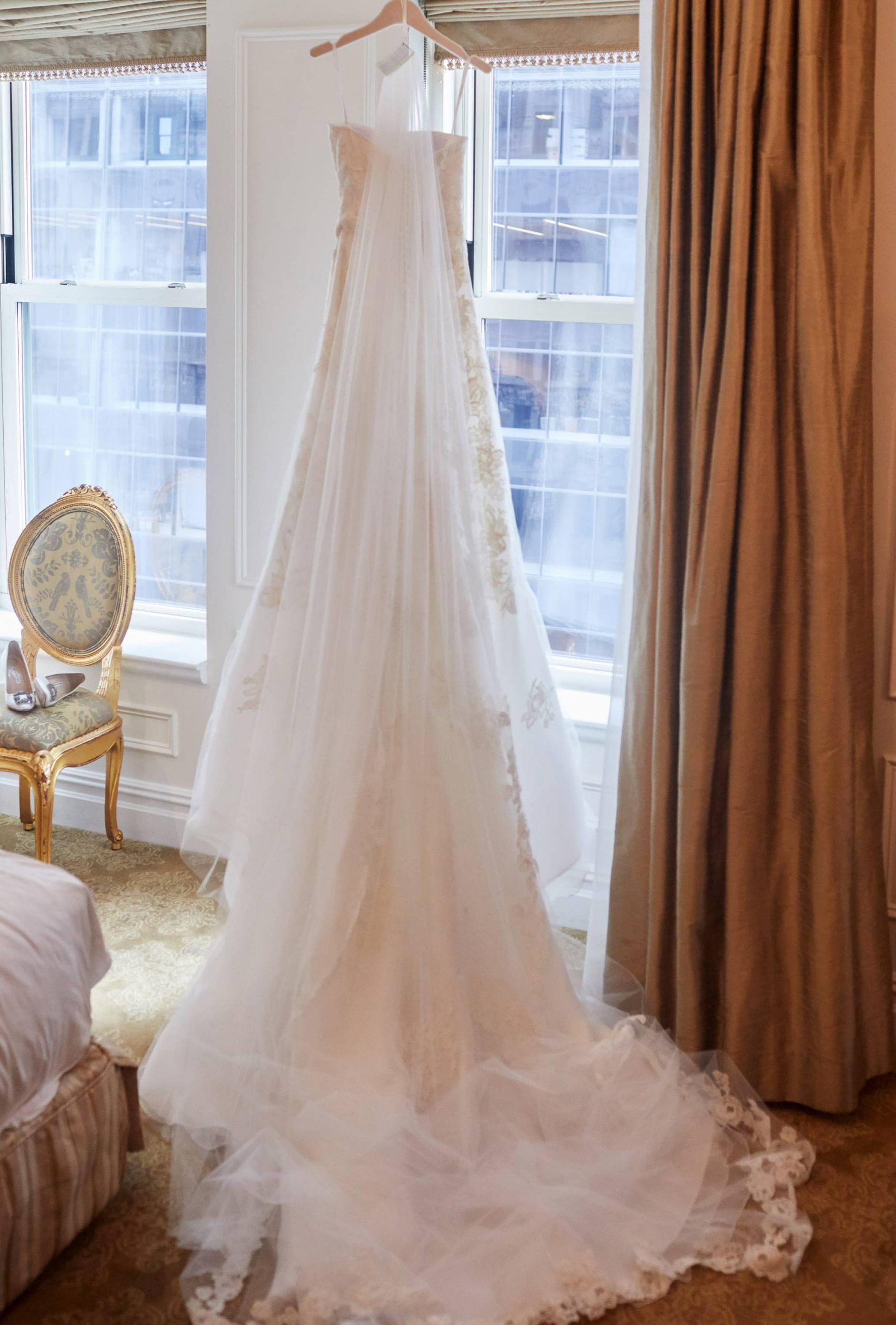 Bride's wedding dress at this classic autumn wedding at The Plaza in NYC | Photo by Christian Oth Studio