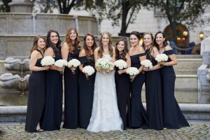 Bride with bridesmaids at this classic autumn wedding at The Plaza in NYC | Photo by Christian Oth Studio