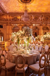 Table and floral decor at gilded reception at this classic autumn wedding at The Plaza in NYC | Photo by Christian Oth Studio