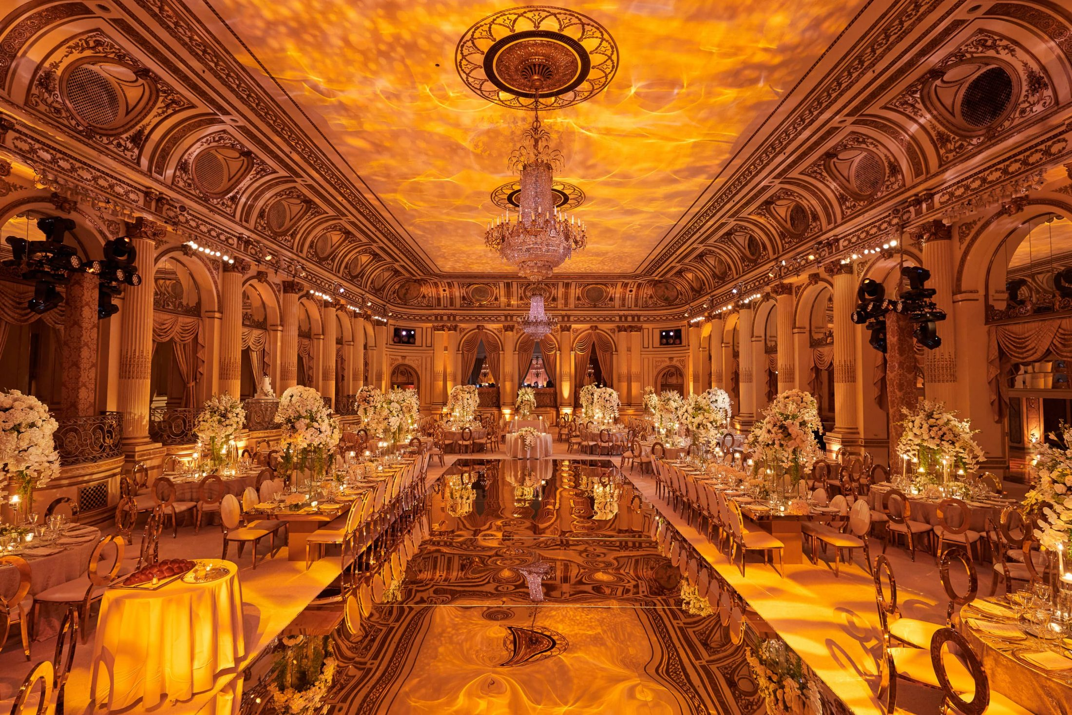 Gilded reception decor at this classic autumn wedding at The Plaza in NYC | Photo by Christian Oth Studio