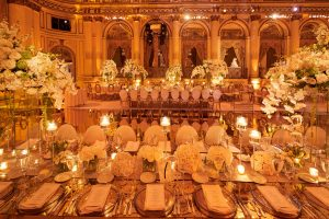 Stunning gilded reception area with a mercury glass floor and mirrored tables at this classic autumn wedding at The Plaza in NYC | Photo by Christian Oth Studio