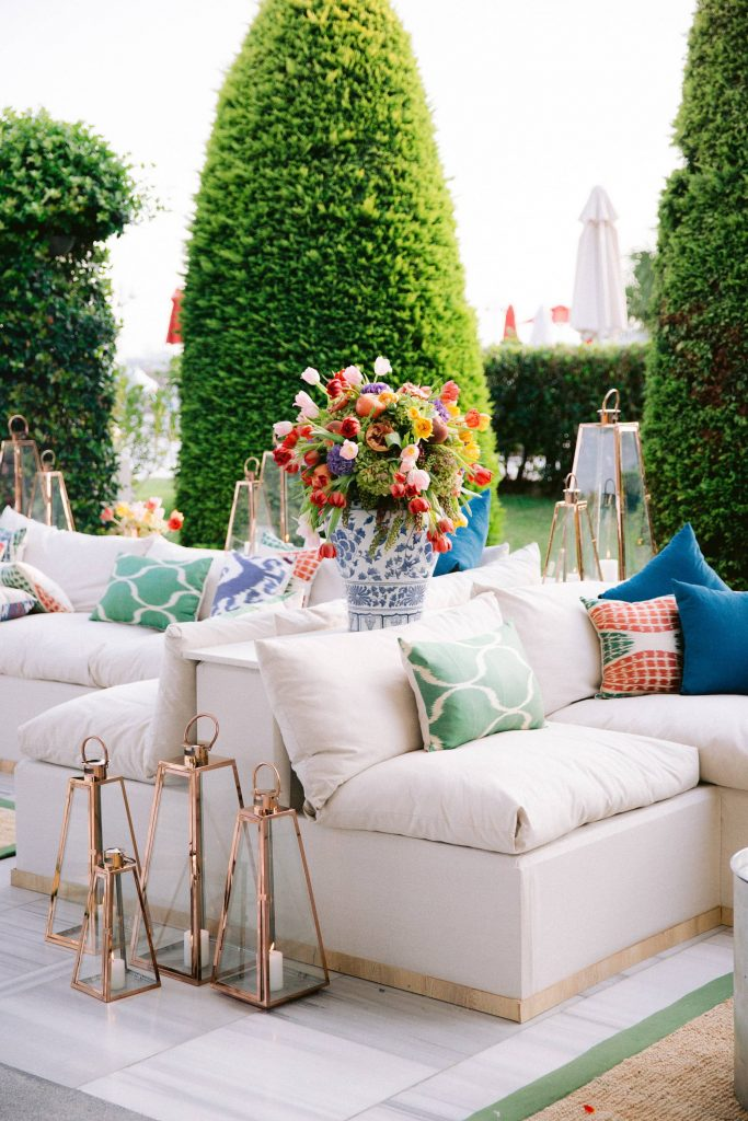 Bright and colorful welcome party at this Istanbul wedding weekend at Four Seasons Bosphorus | Photo by Allan Zepeda