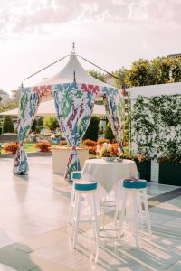 Bright and colorful welcome party tent details at this Istanbul wedding weekend at Four Seasons Bosphorus | Photo by Allan Zepeda