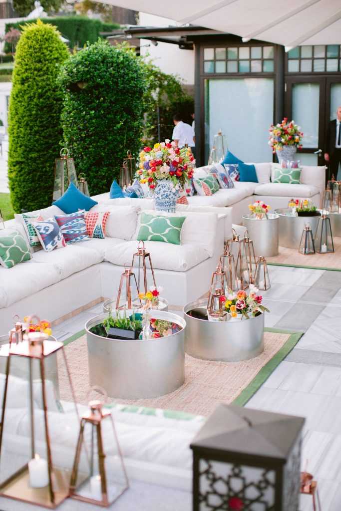 Bright and colorful welcome party decor at this Istanbul wedding weekend at Four Seasons Bosphorus | Photo by Allan Zepeda