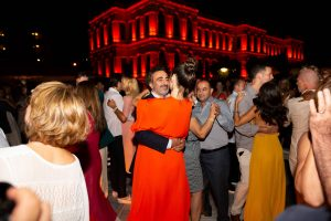 Dancing during the welcome party at this Istanbul wedding weekend at Four Seasons Bosphorus | Photo by Allan Zepeda