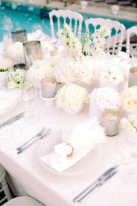 White party table and floor decor at this Istanbul wedding weekend at Four Seasons Bosphorus | Photo by Allan Zepeda