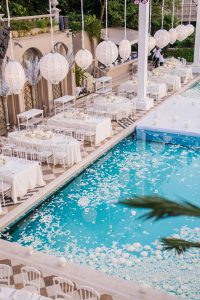 White party at this Istanbul wedding weekend at Four Seasons Bosphorus | Photo by Allan Zepeda