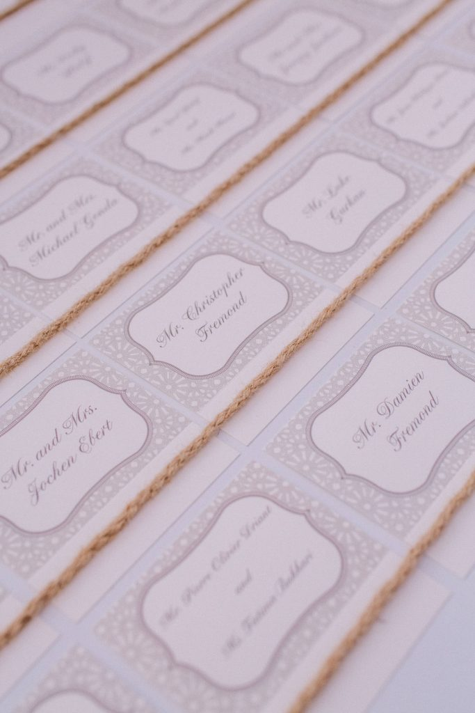 Guest cards for white party at this Istanbul wedding weekend at Four Seasons Bosphorus | Photo by Allan Zepeda