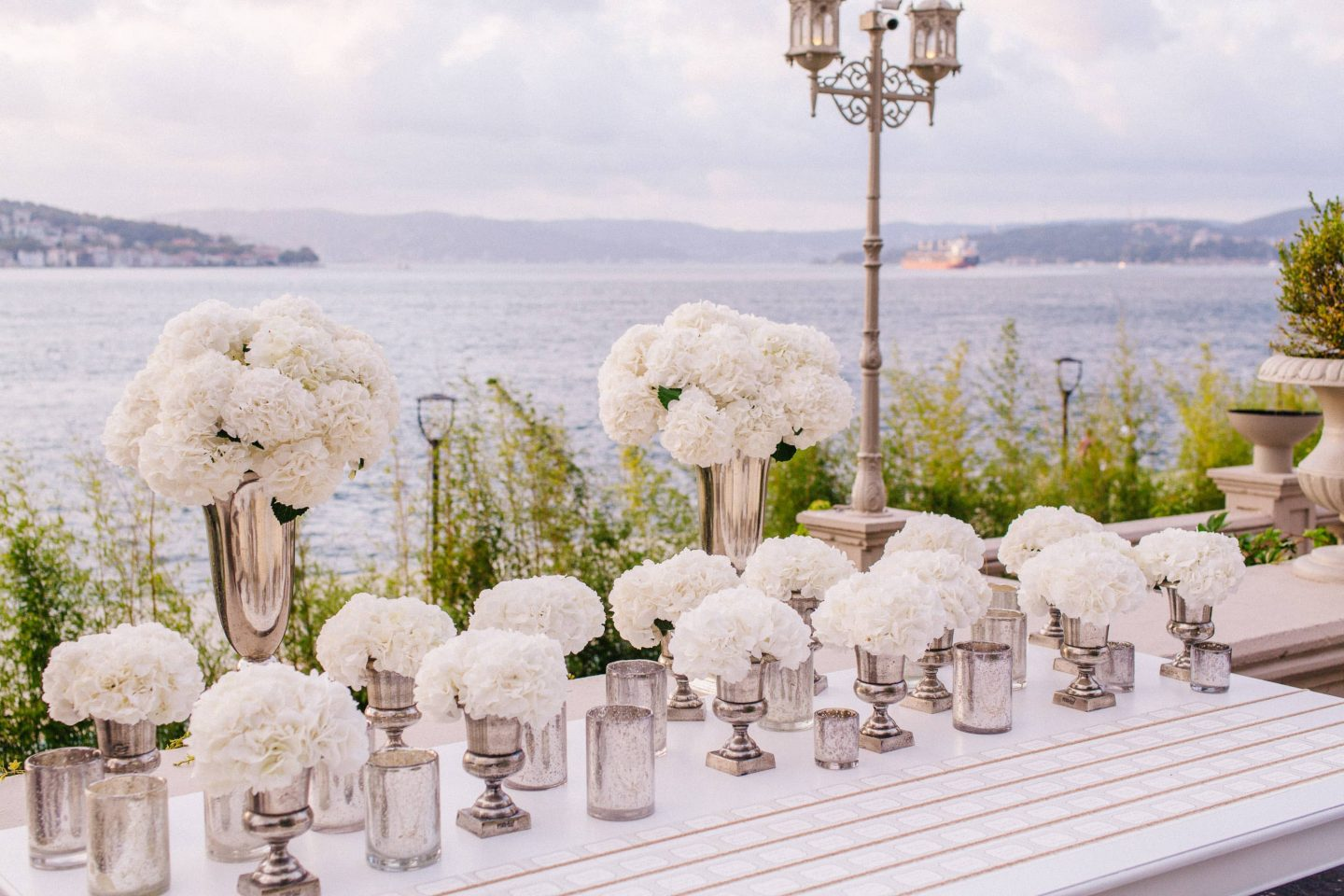 Floral decor for white party at this Istanbul wedding weekend at Four Seasons Bosphorus | Photo by Allan Zepeda