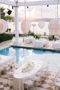 White party decor at this Istanbul wedding weekend at Four Seasons Bosphorus | Photo by Allan Zepeda