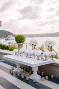 White party floral decor at this Istanbul wedding weekend at Four Seasons Bosphorus | Photo by Allan Zepeda