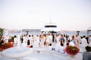 Guests during white party at this Istanbul wedding weekend at Four Seasons Bosphorus   Photo by Allan Zepeda