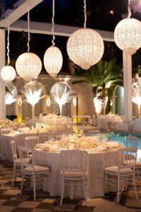Nighttime decor during white party at this Istanbul wedding weekend at Four Seasons Bosphorus | Photo by Allan Zepeda