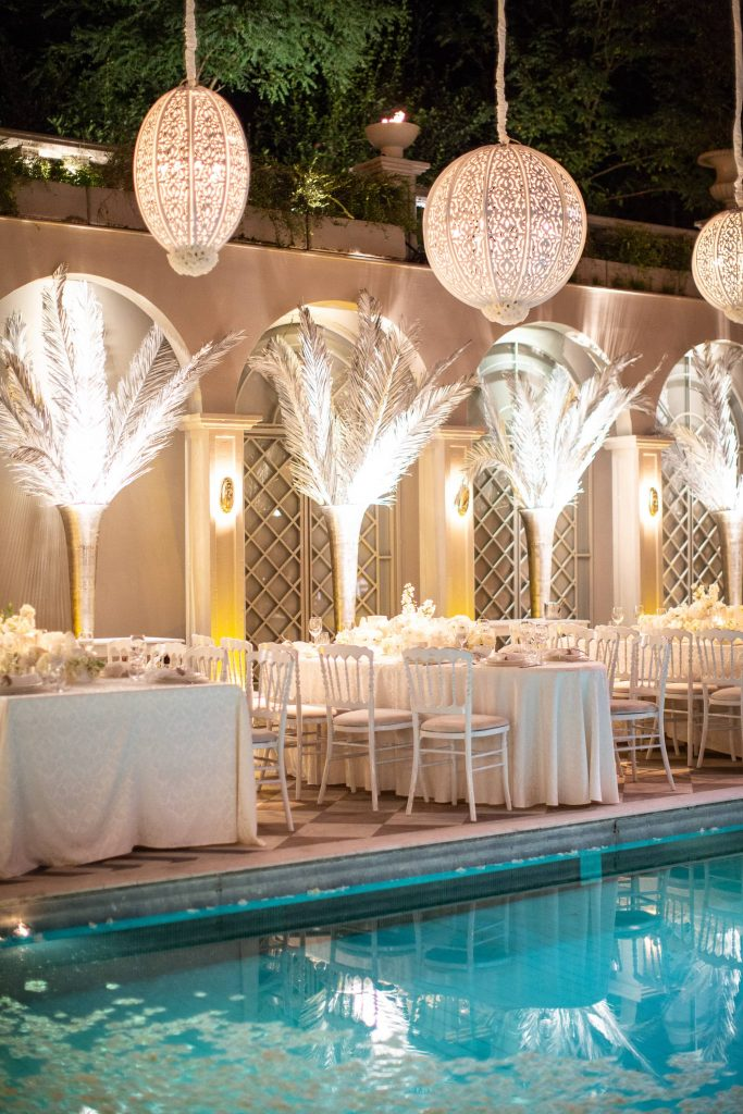 Nighttime decor for white party at this Istanbul wedding weekend at Four Seasons Bosphorus | Photo by Allan Zepeda