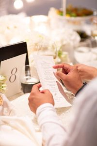 Table details at white party at this Istanbul wedding weekend at Four Seasons Bosphorus | Photo by Allan Zepeda