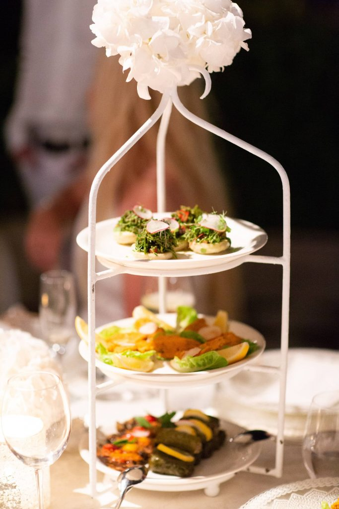 Food served at white party at this Istanbul wedding weekend at Four Seasons Bosphorus | Photo by Allan Zepeda