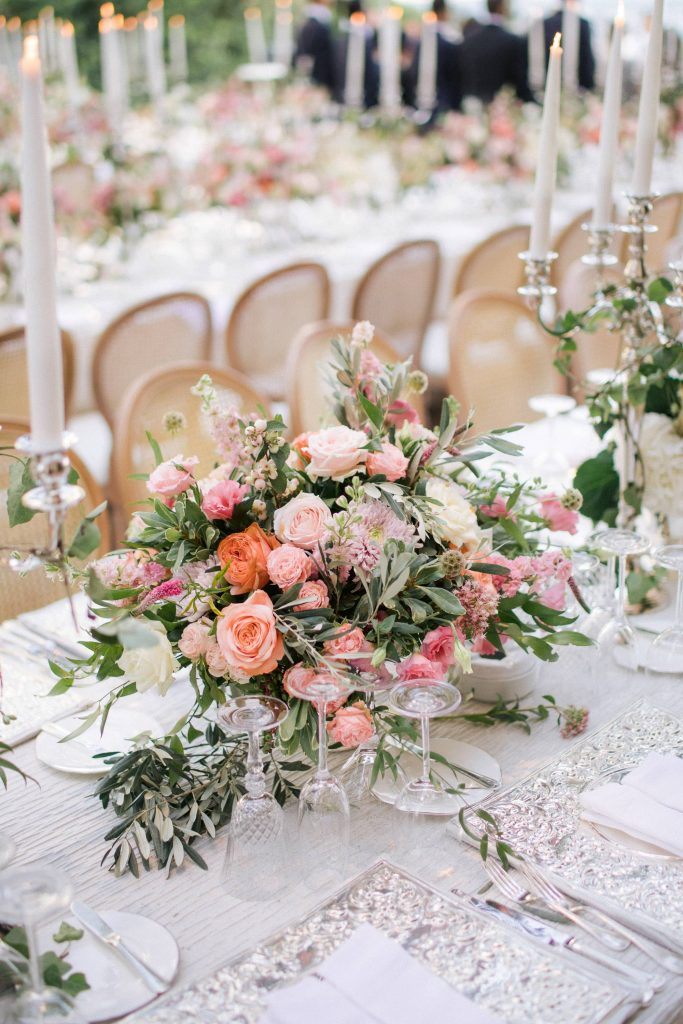 Floral table decor for garden-inspired reception at this Istanbul wedding weekend at Four Seasons Bosphorus | Photo by Allan Zepeda