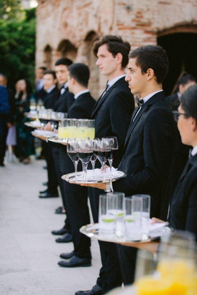 Drinker servers at this Istanbul wedding weekend at Four Seasons Bosphorus | Photo by Allan Zepeda