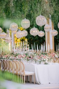 Garden-inspired reception decor at this Istanbul wedding weekend at Four Seasons Bosphorus | Photo by Allan Zepeda