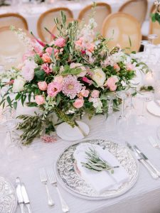 Garden-inspired reception table decor at this Istanbul wedding weekend at Four Seasons Bosphorus | Photo by Allan Zepeda
