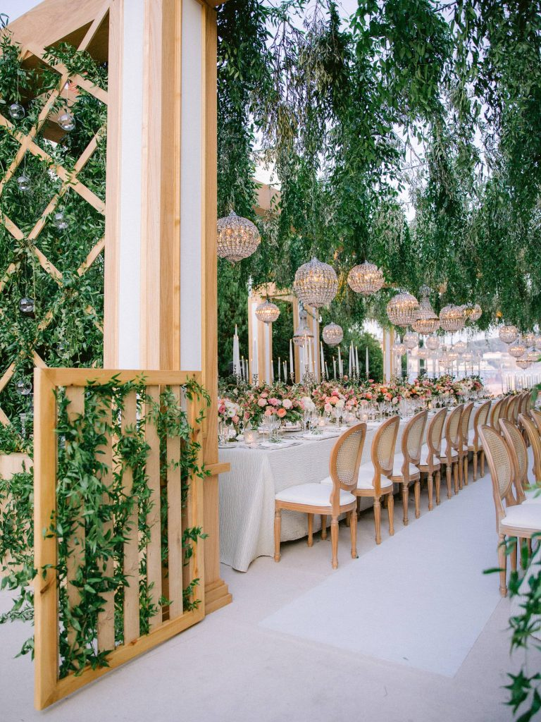 Garden-inspired reception at this Istanbul wedding weekend at Four Seasons Bosphorus | Photo by Allan Zepeda
