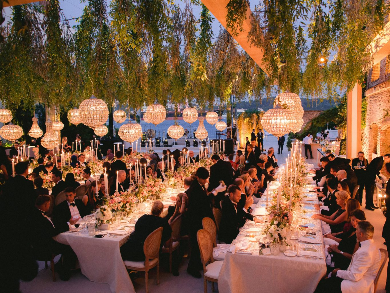 Guests during reception at this Istanbul wedding weekend at Four Seasons Bosphorus | Photo by Allan Zepeda