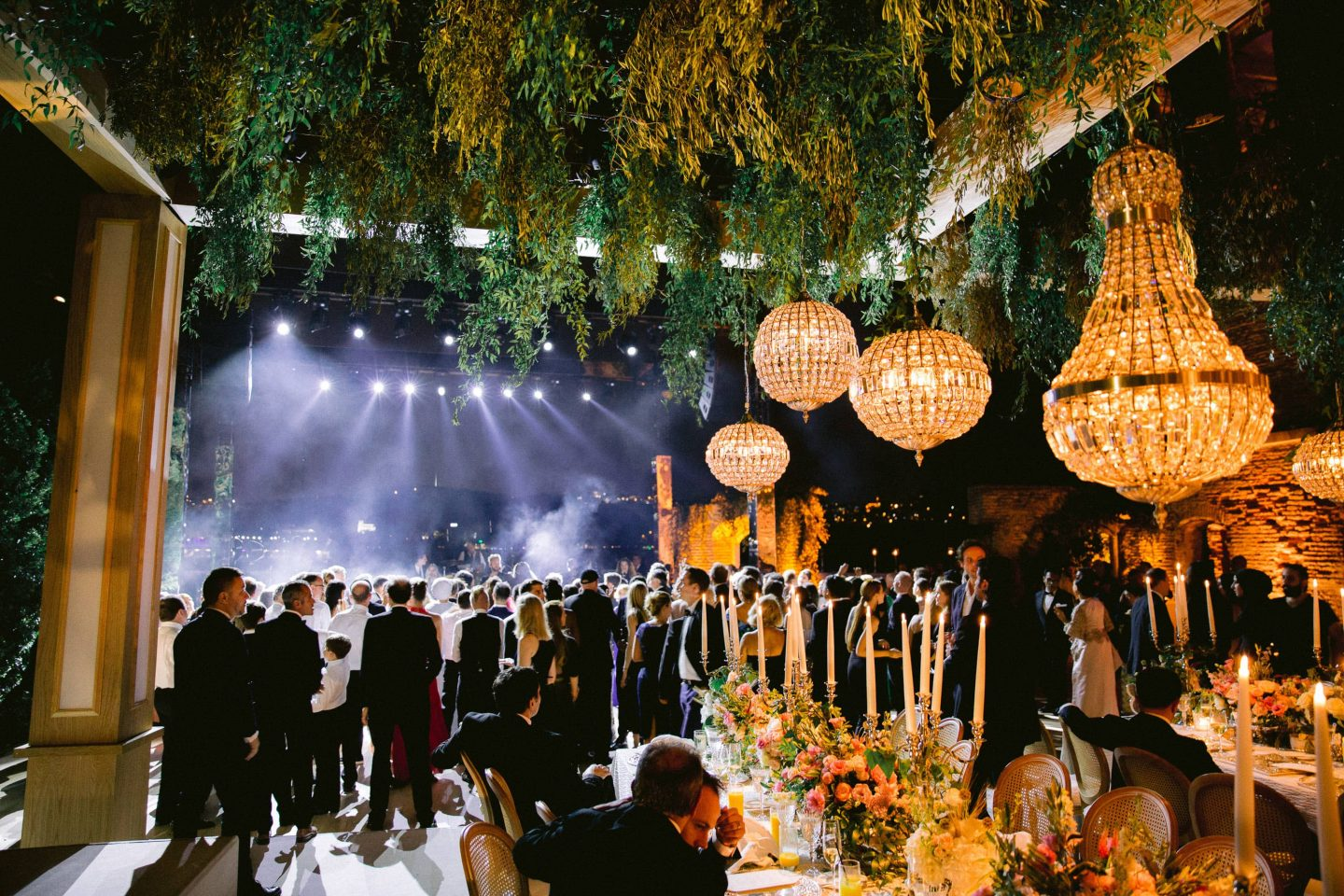 Reception at night at this Istanbul wedding weekend at Four Seasons Bosphorus | Photo by Allan Zepeda