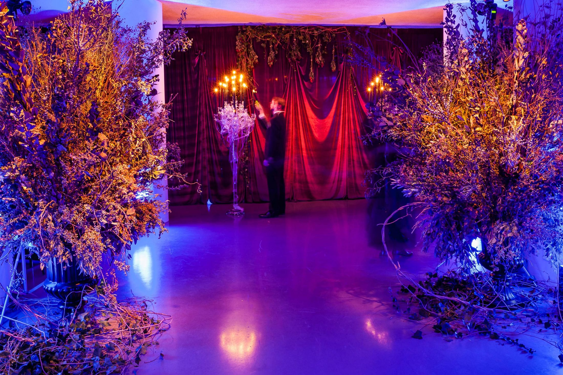 Purple hued entrance at this epic halloween party at The Standard in NYC | Photo by Gruber Photographers