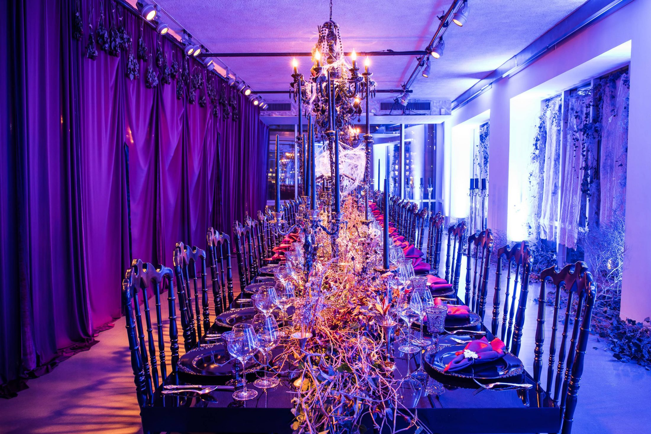 Spooky purple decor at this epic halloween party at The Standard in NYC | Photo by Gruber Photographers