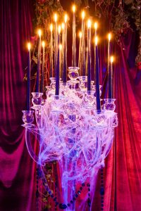 Cobweb candle display at this epic halloween party at The Standard in NYC | Photo by Gruber Photographers