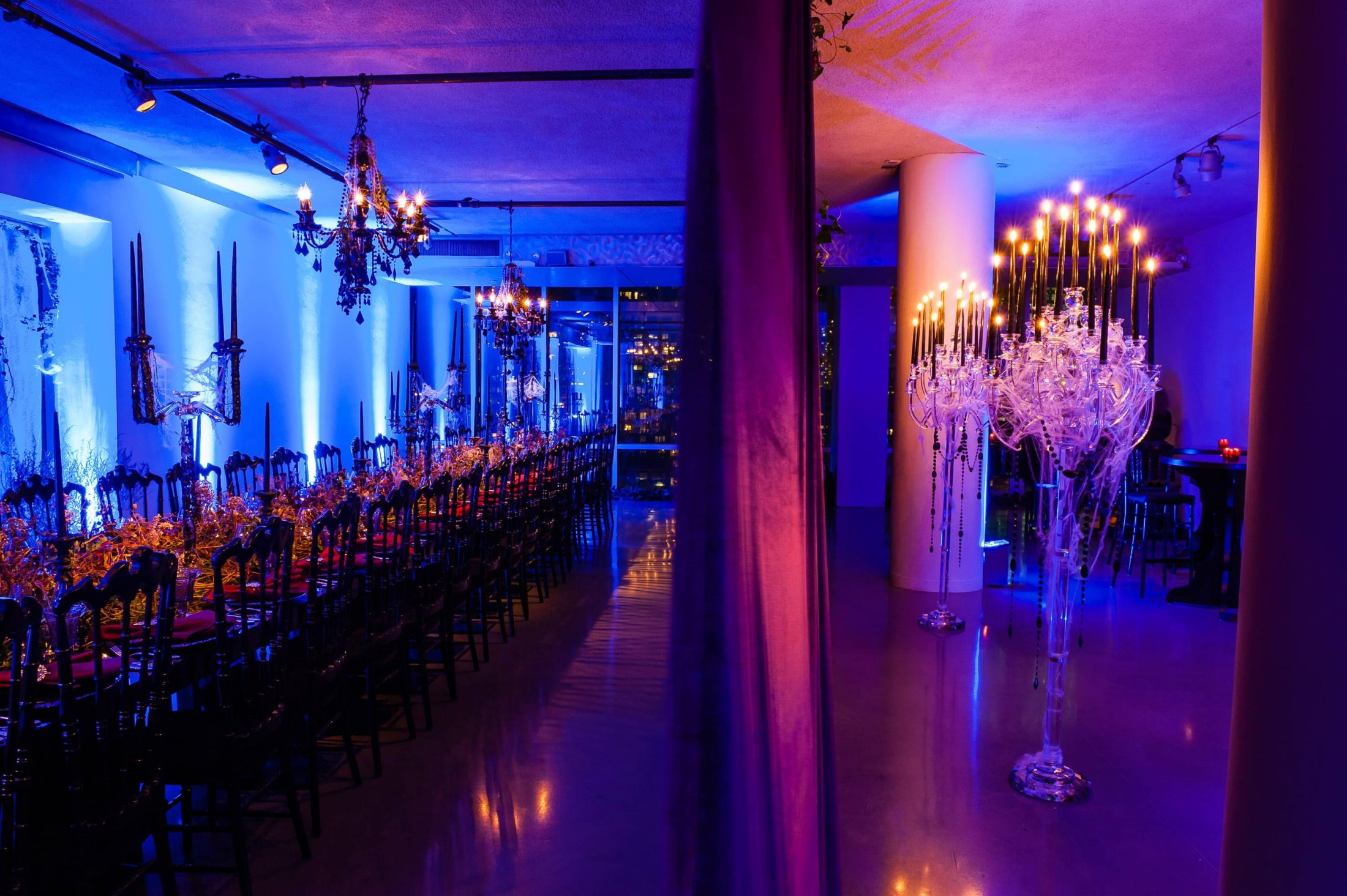 Spooky decor for the seated Monster Mash at this epic halloween party at The Standard in NYC | Photo by Gruber Photographers