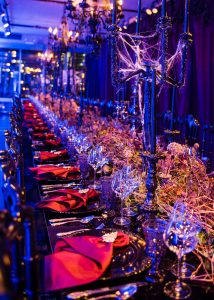 Halloween themed decor for the seated Monster Mash at this epic halloween party at The Standard in NYC | Photo by Gruber Photographers