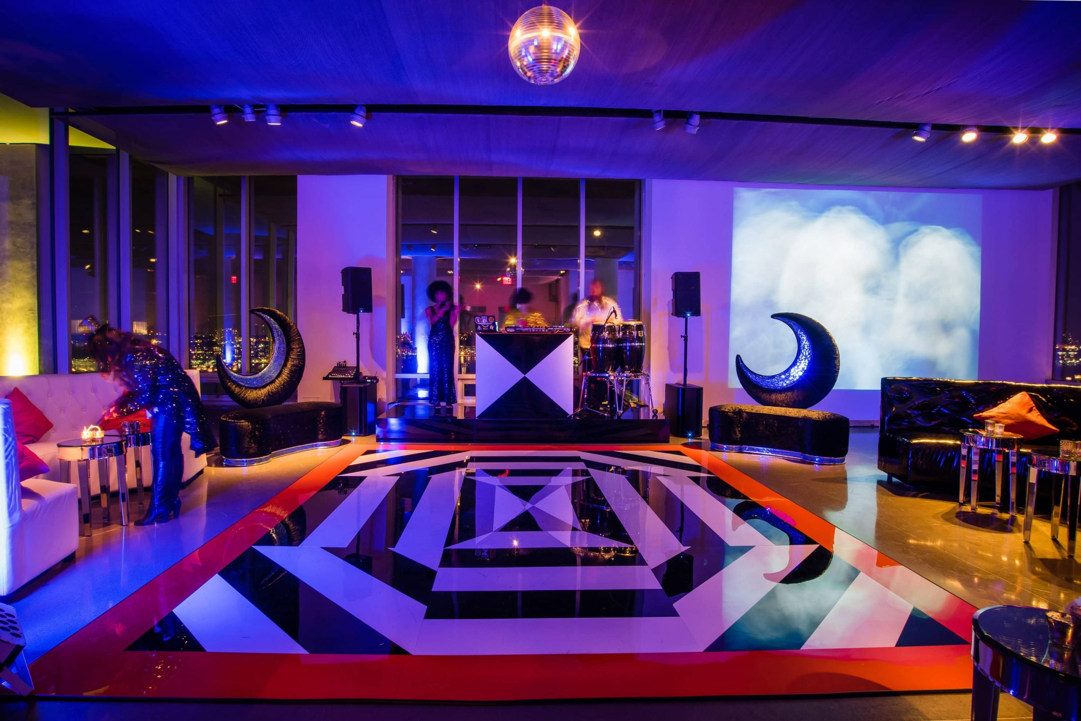 Dance floor with black and white details for the haunted Studio 54 at this epic halloween party at The Standard in NYC | Photo by Gruber Photographers