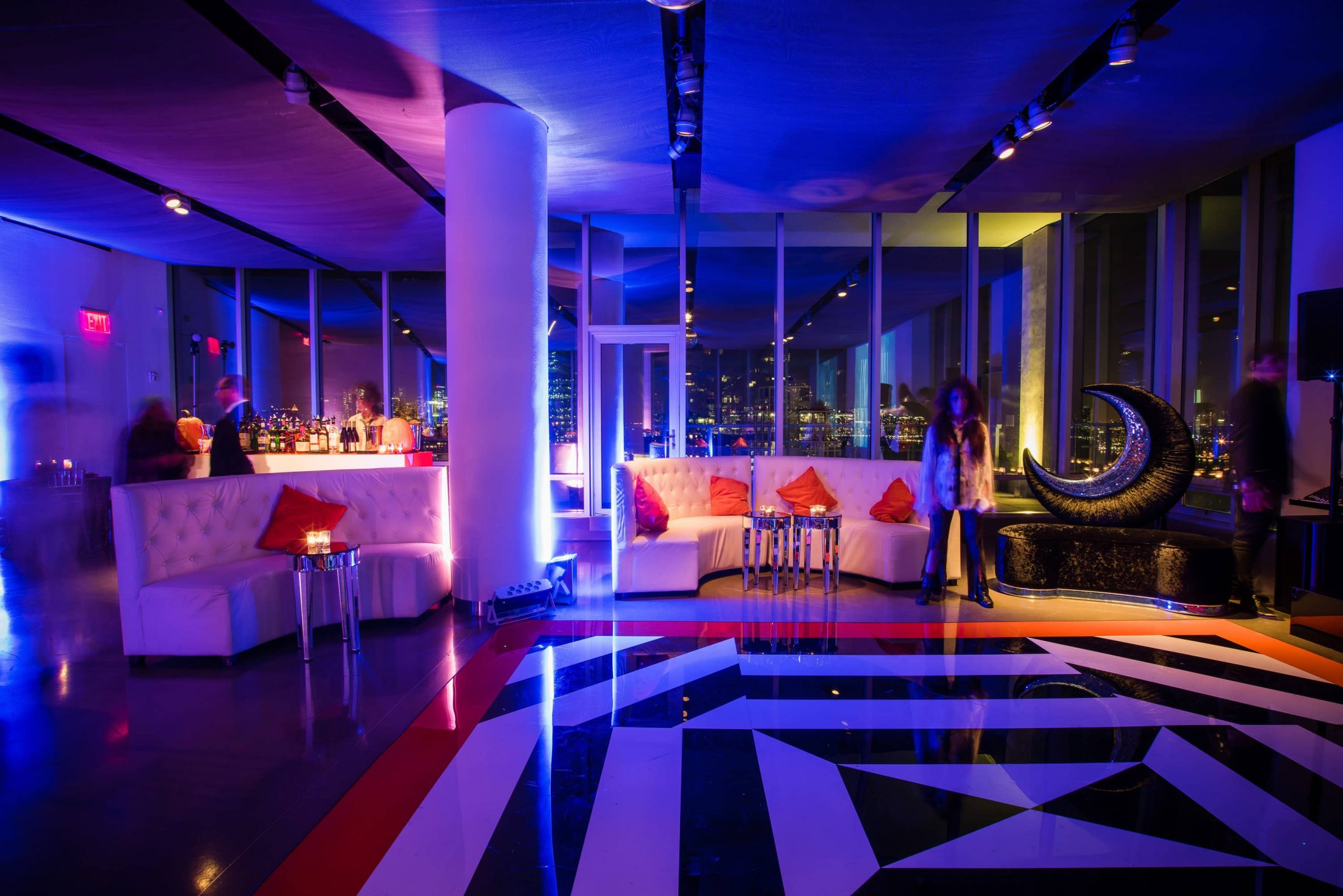 Dance floor and lounge area for the haunted Studio 54 at this epic halloween party at The Standard in NYC | Photo by Gruber Photographers