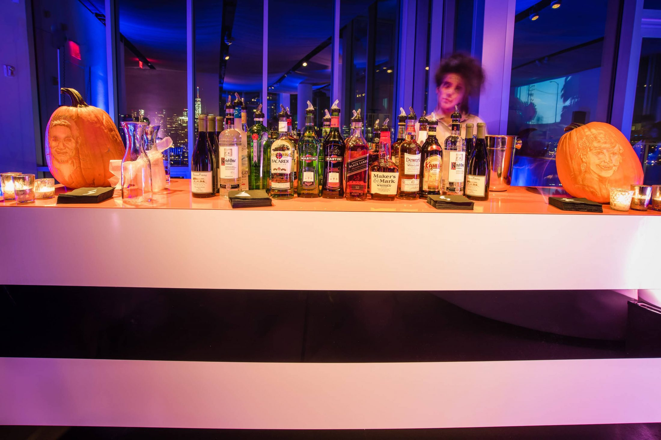 Bar with a spooky bartender at this epic halloween party at The Standard in NYC | Photo by Gruber Photographers