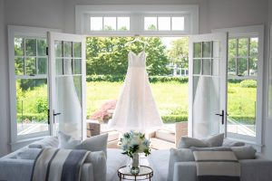 Wedding dress at this Hamptons wedding weekend held at The Parrish Museum | Photo by Roey Yohai Studio
