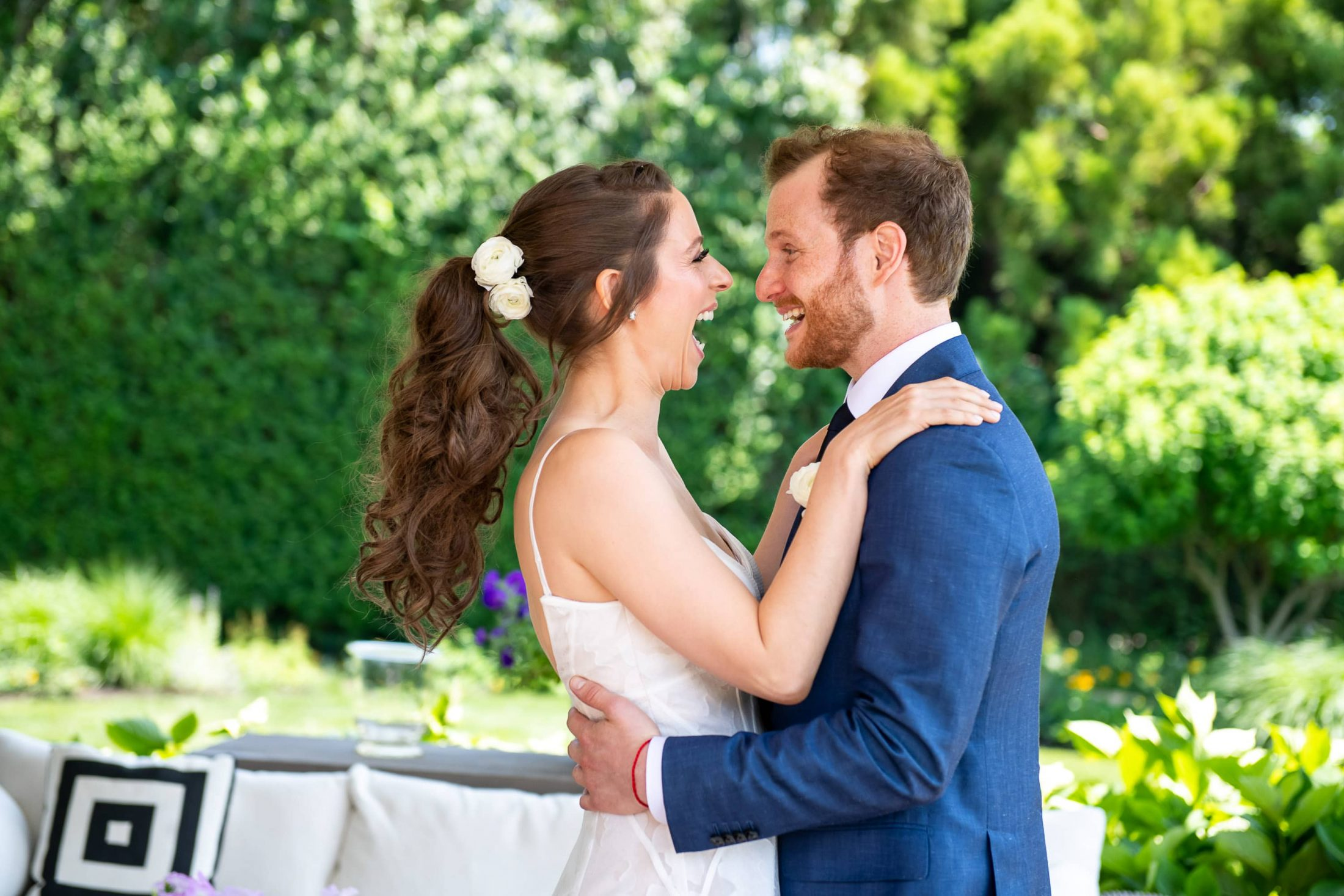 Bride and groom first look at this Hamptons wedding weekend held at The Parrish Museum | Photo by Roey Yohai Studio