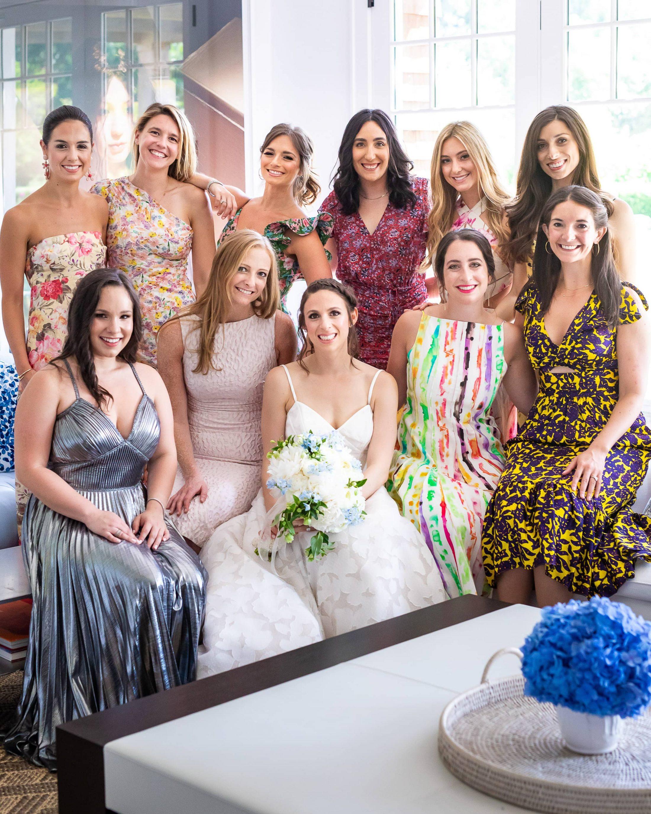 Bride with bridesmaids at this Hamptons wedding weekend held at The Parrish Museum | Photo by Roey Yohai Studio