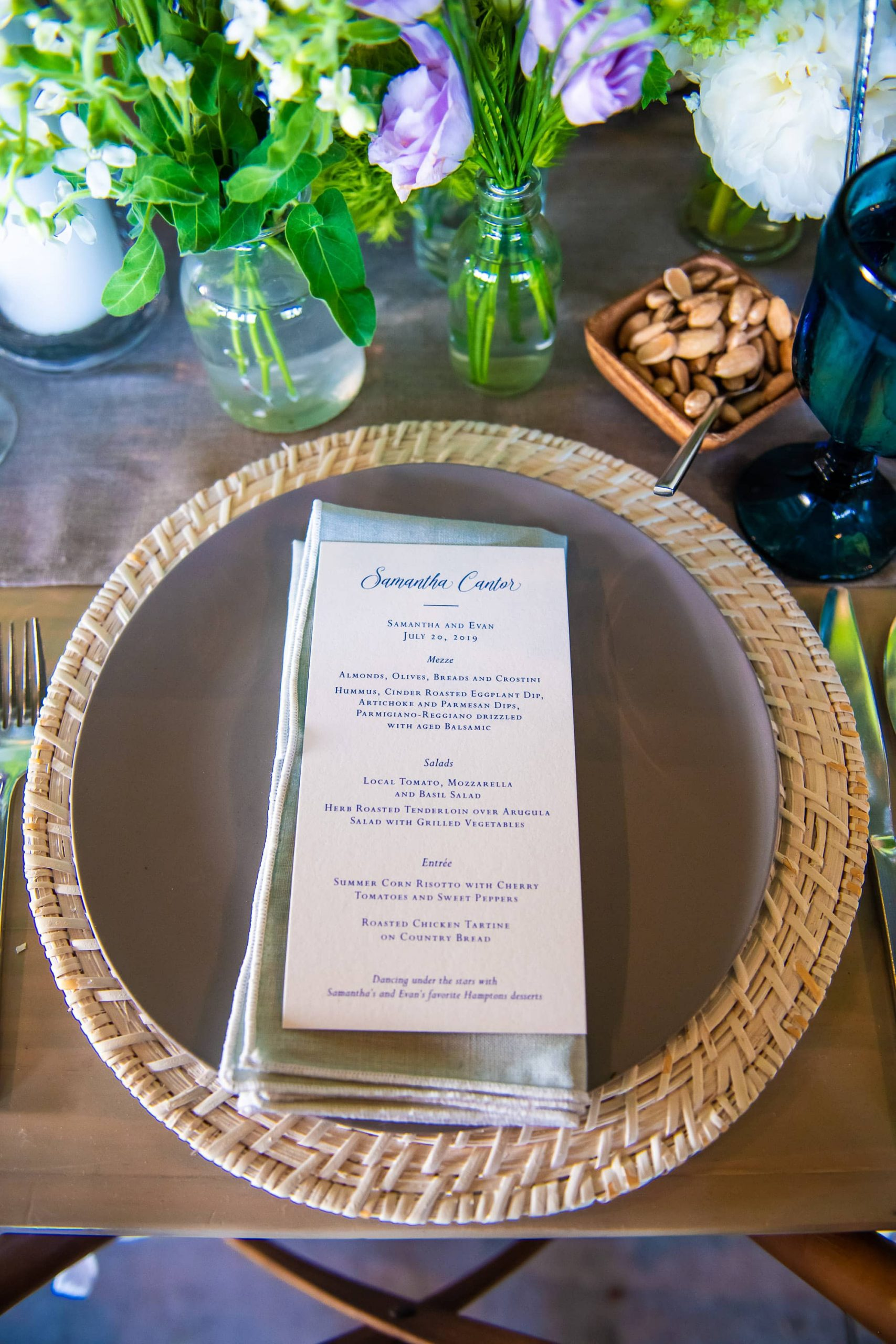 Table setting with menu at this Hamptons wedding weekend held at The Parrish Museum | Photo by Roey Yohai Studio