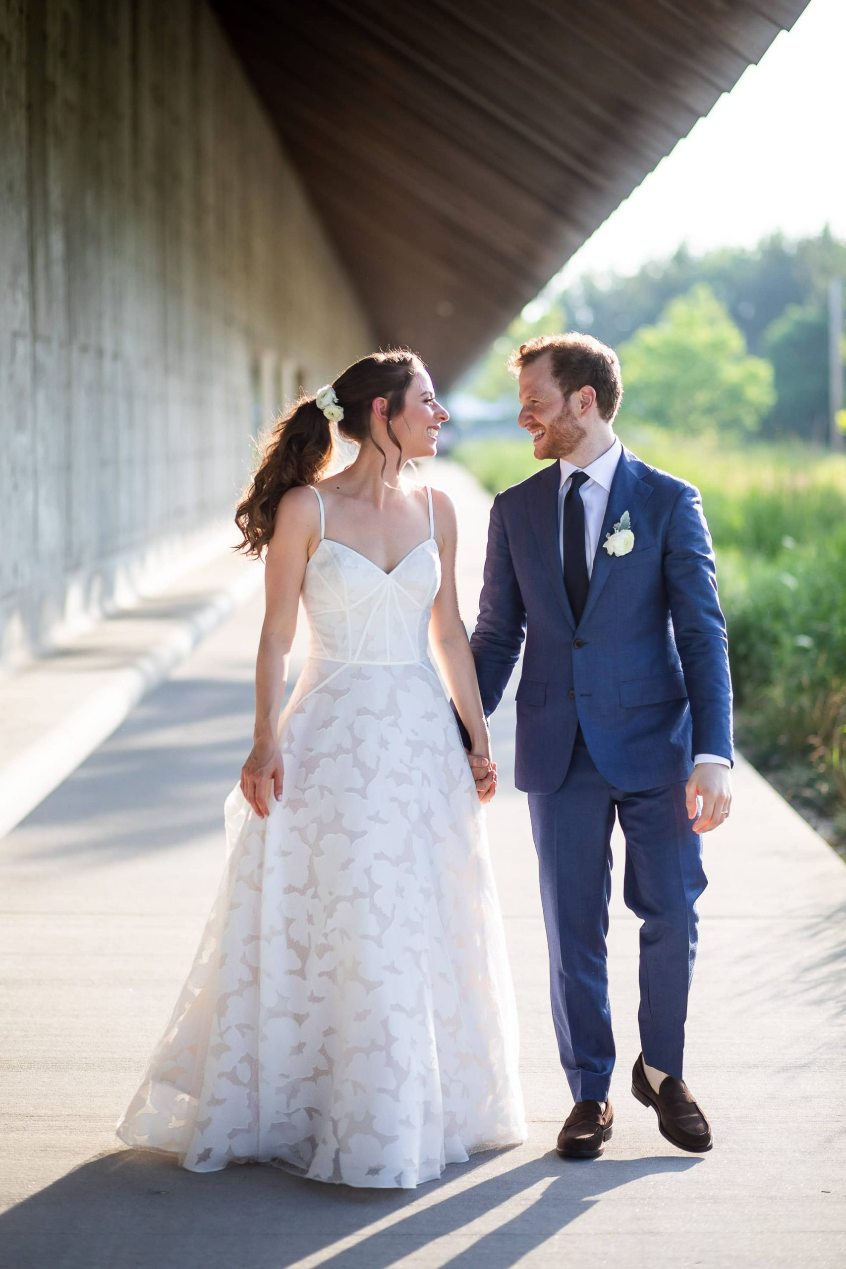 Bride and groom at this Hamptons wedding weekend held at The Parrish Museum | Photo by Roey Yohai Studio