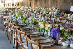 Reception decor at this Hamptons wedding weekend held at The Parrish Museum | Photo by Roey Yohai Studio